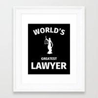 lawyer Framed Art Prints featuring World's Greatest Lawyer by Fabian Bross