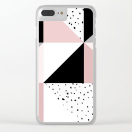 Geometrical pink black gray watercolor polka dots color block Clear iPhone Case