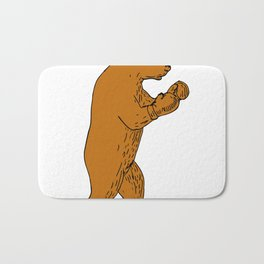 Brown Bear Boxing Stance Drawing Bath Mat