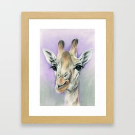 Giraffe Portrait with Beautiful Eyes Framed Art Print
