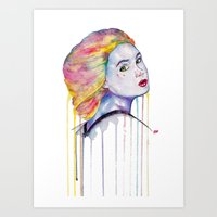 karen hallion Art Prints featuring Karen Gillan  by Jeremy Buckley illustration
