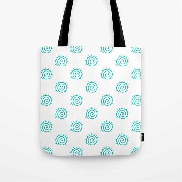 Aqua Spiral Abstract Pattern Tote Bag