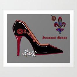 A Black Patent Leather Steampunk Mamma Stiletto Art Print