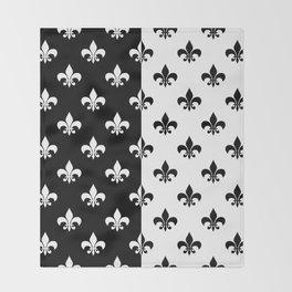 Black & white royal lilies Throw Blanket
