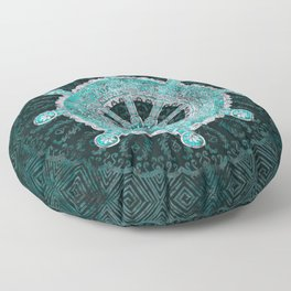 Dharma Wheel - Dharmachakra Silver and turquoise Floor Pillow