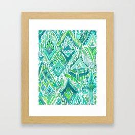 Spring TEMPLE TRIBAL Green Ikat Framed Art Print
