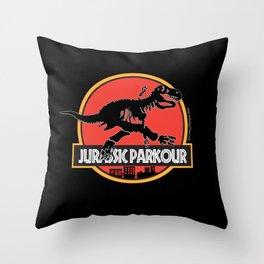 Jurassic Parkour Throw Pillow
