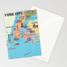 New York City Fine Art Print Retro Vintage Favorite Map with Touristic Highlights Stationery Cards
