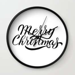 Merry Christmas calligraphy lettering  Wall Clock
