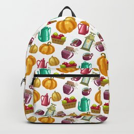 Autumn  Pattern with Food and Drink and Lamp Backpack