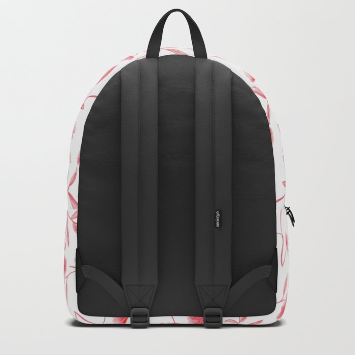 Red Watercolor Floral Pattern Backpack