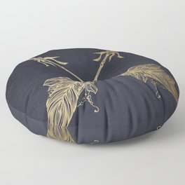 Arrows Gold Copper Bronze on Navy Blue Floor Pillow
