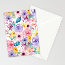 Modern elegant pink lavender yellow watercolor floral Stationery Cards