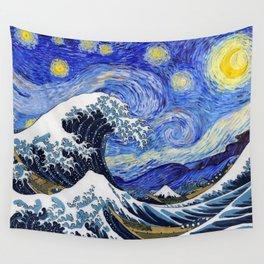 "Hokusai,""The Great Wave off Kanagawa"" + van Gogh,""Starry night"" Wall Tapestry"