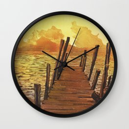Watercolor painting of sunset over water & volcanoes of Lake Atitlan at sunset- Guatemala. Wall Clock