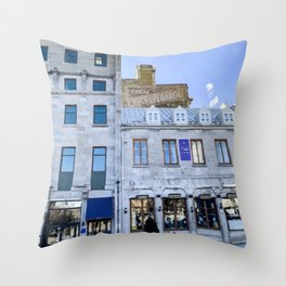 Digital Painting of Traditional Quebecois Buildings on a Winter's Day in Old Port Montreal Throw Pillow