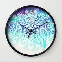 Indigo & Aqua Abstract - doodle painting Wall Clock