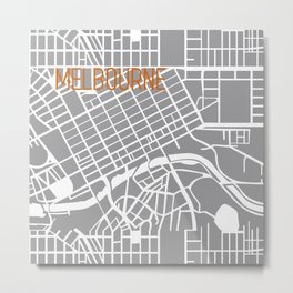 Melbourne grey and white map Metal Print