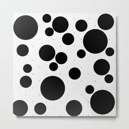 Black and White Polka-dots on Confetti 1603 Metal Print