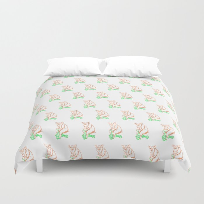 Piggy on a Tricycle Duvet Cover