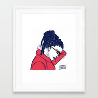 cosima Framed Art Prints featuring Cosima in Red by the-haps