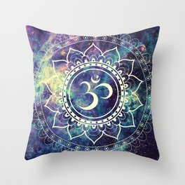 Om Mandala : Deep Pastels Galaxy Throw Pillow