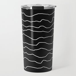 Black with White Squiggly Lines Travel Mug