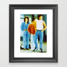 Waiting for the bus in the eighties Framed Art Print