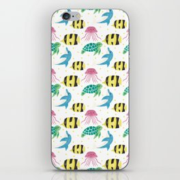 Colorful pink yellow black fish dolphin turtle nautical pattern iPhone Skin