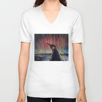 penguin V-neck T-shirts featuring Aurora Penguin by Michael Creese