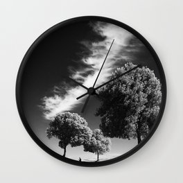 Cloud trees man Wall Clock