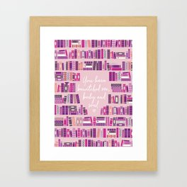 Mr Darcy Quote Bookcase Framed Art Print