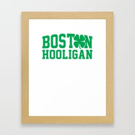 Boston Hooligan Green Shamrock St Patricks Day Cool Framed Art Print