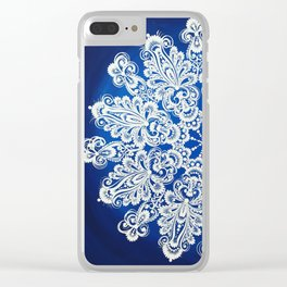 White snowflake in Petrykivka style Clear iPhone Case