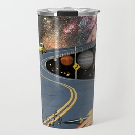 Composing on the Road. *Futuristic / Sci-Fi Surreal Digital Collage.* Travel Mug
