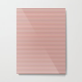 White/Firebrick Horizontal Lines Metal Print