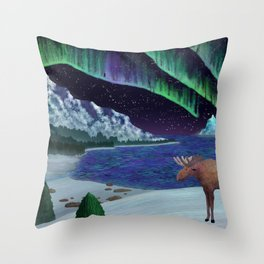 Northern Lights Over Snowscape Throw Pillow