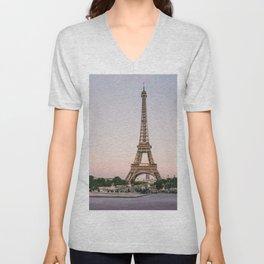 Sunset at Eiffel Tower  Unisex V-Neck
