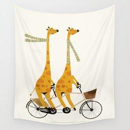 lets tandem giraffes Wall Tapestry
