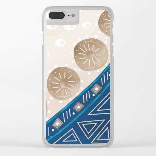 Abstract pattern brown blue . Clear iPhone Case