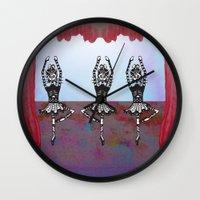 discount Wall Clocks featuring Les Chats De Ballet Noel by Elizabeth Hinson Wolever