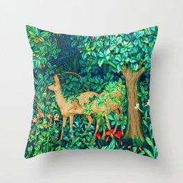 Art Nouveau Forest Deer Tapestry Print Throw Pillow