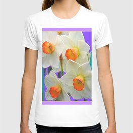 WHITE-GOLD NARCISSUS FLOWERS LAVENDER GARDEN T-shirt