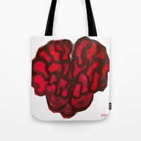 brain Tote Bags featuring Brain by Myles Hunt