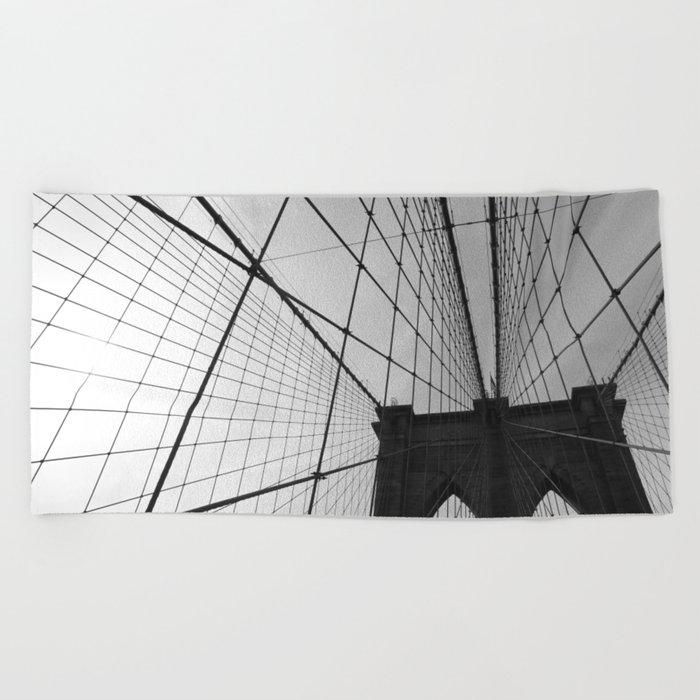 Brooklyn Bridge Black and White Beach Towel