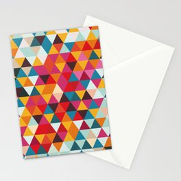 Vintage Summer Color Palette - Hipster Geometric Triangle Pattern Stationery Cards