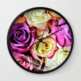 Colorful Roses Wall Clock