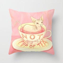 Not everyone's cup of tea - Sphynx Cat Throw Pillow
