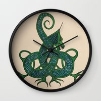 celtic Wall Clocks featuring Celtic Dragon by Erin Malbuisson-Delaney