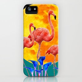 BLACK PINK FLAMINGOS FULL MOON BLUE LILIES iPhone Case